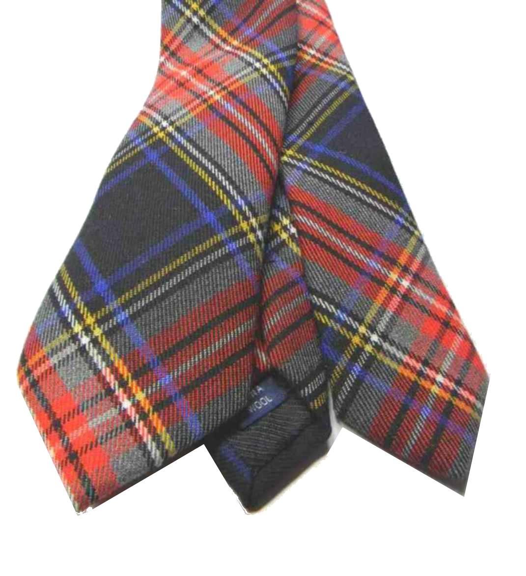 presentando super speciali più colori Cravatta lana uomo a quadri tartan nero cravatte in lana ...