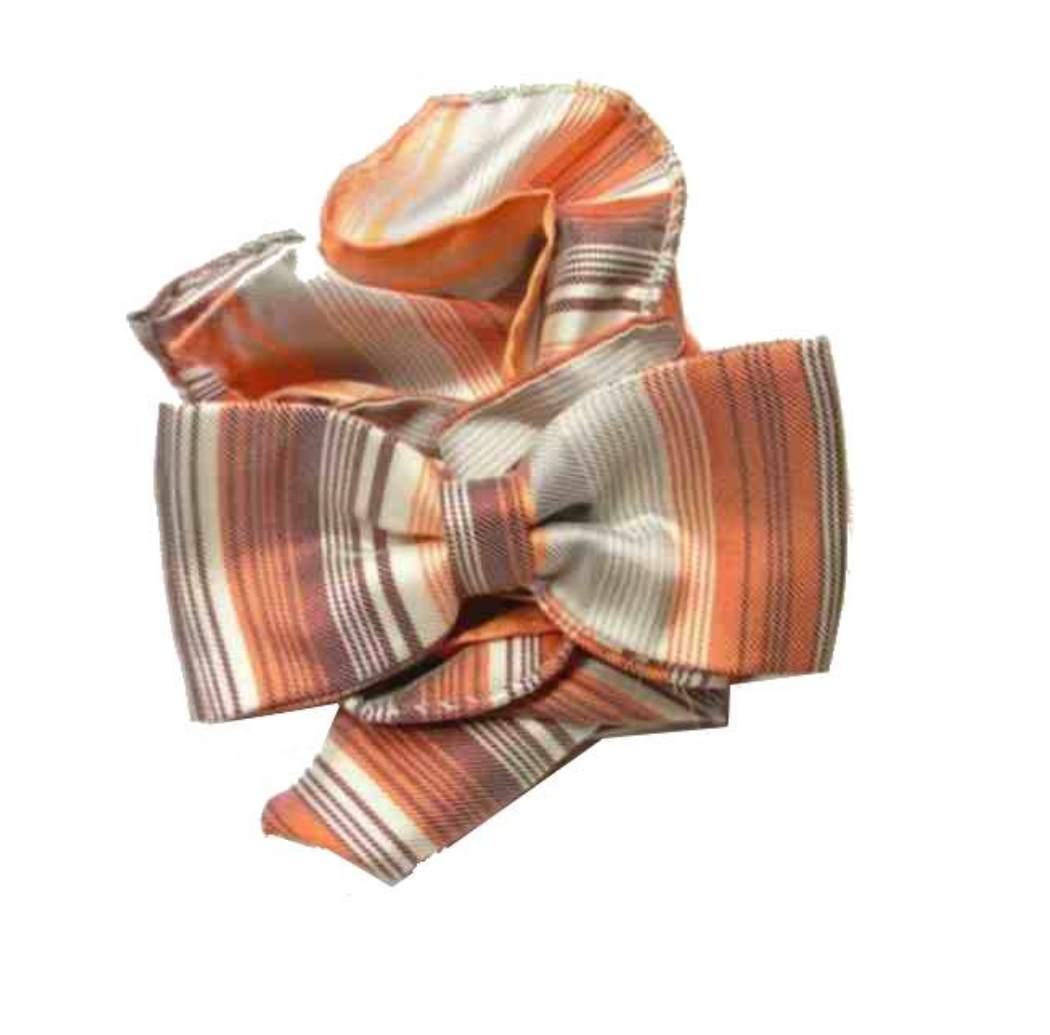 Abbinata cravatta a farfalla papillon arancio righe fatto seta e pochette  rigata 1e3a60163a8a