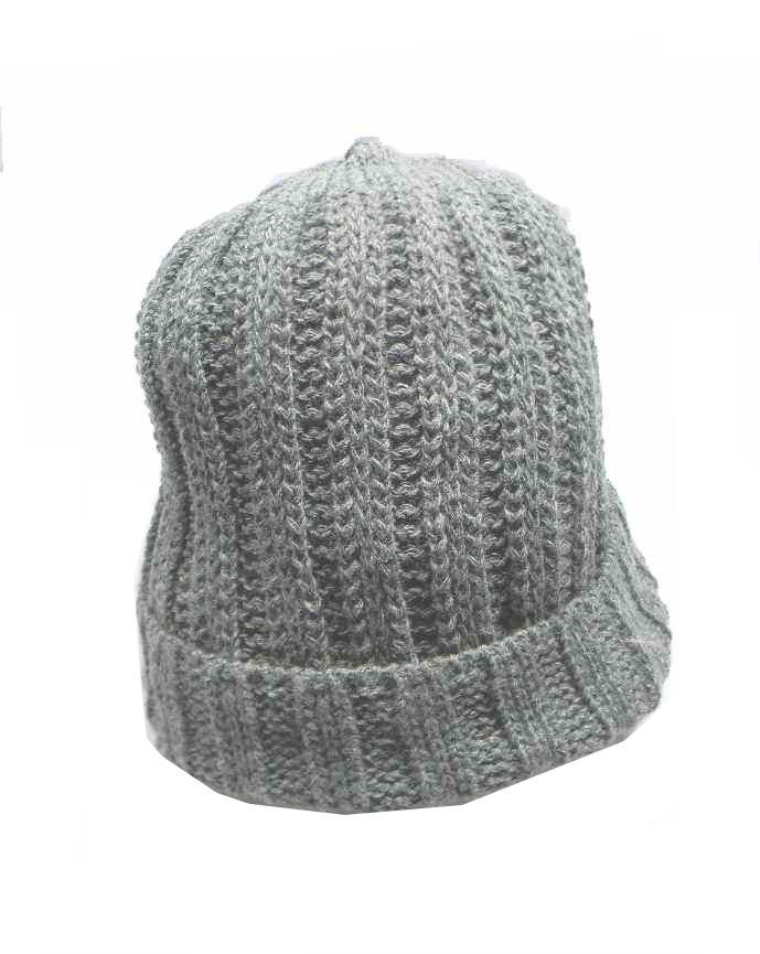 Berretto uomo donna grigio melange disegni a costina capello di lana made  italy b0807a0d3a5