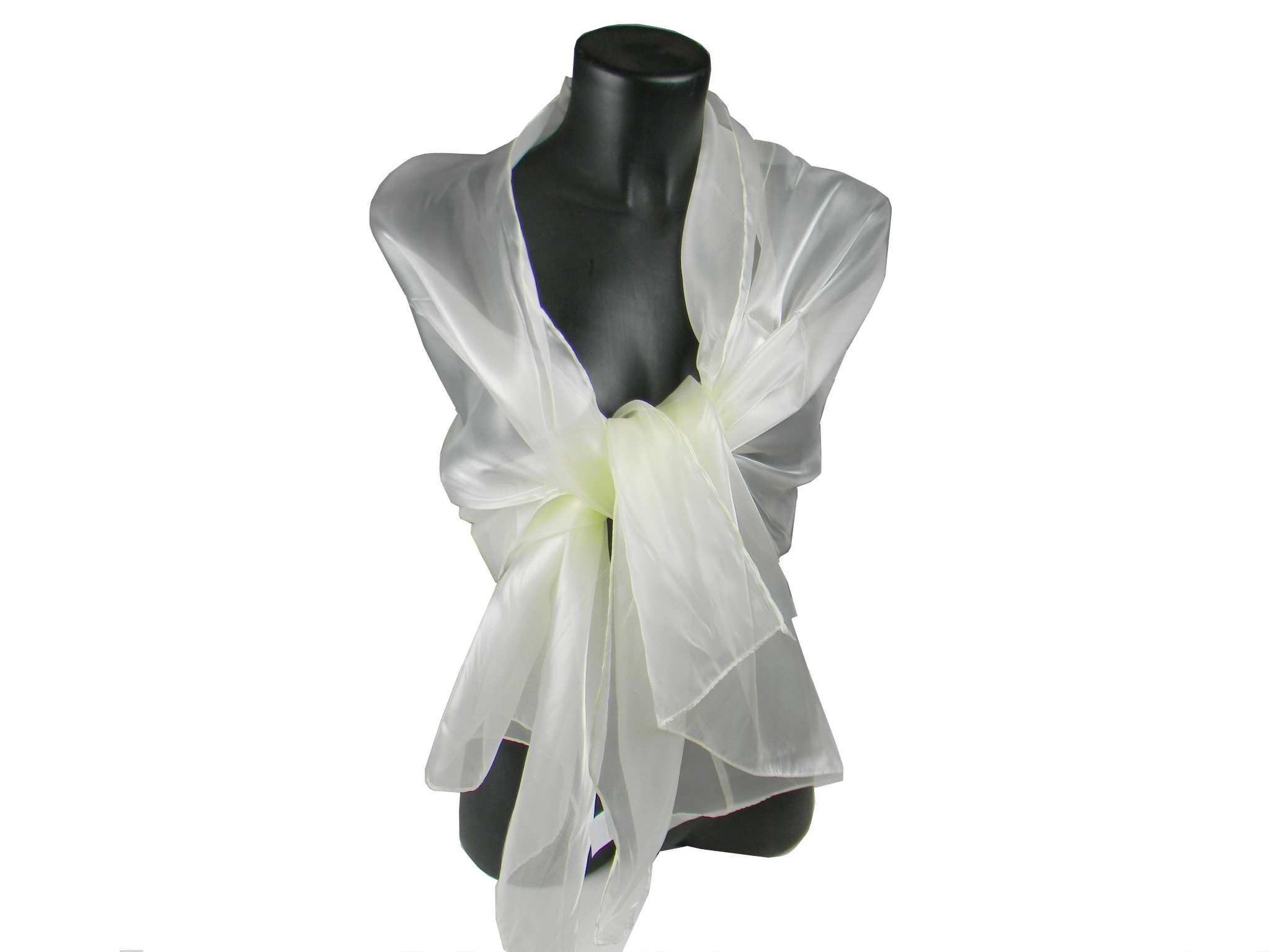 new style d2189 0ea3e Stola donna bianco panna coprispalle in raso lucido seta da ...