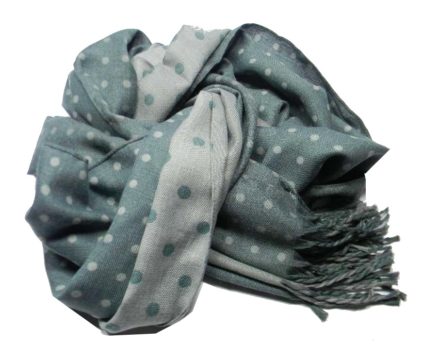 SCIARPA-grigia-A-POIS-verdi-uomo-DONNA-in-contrasto-MADE-ITALY-grigio-verde