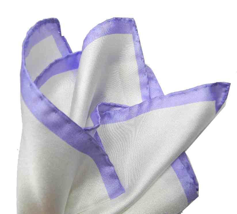 b35f607ca2 Fazzoletto da taschino bianco pochette seta uomo bianca bordo colore lilla