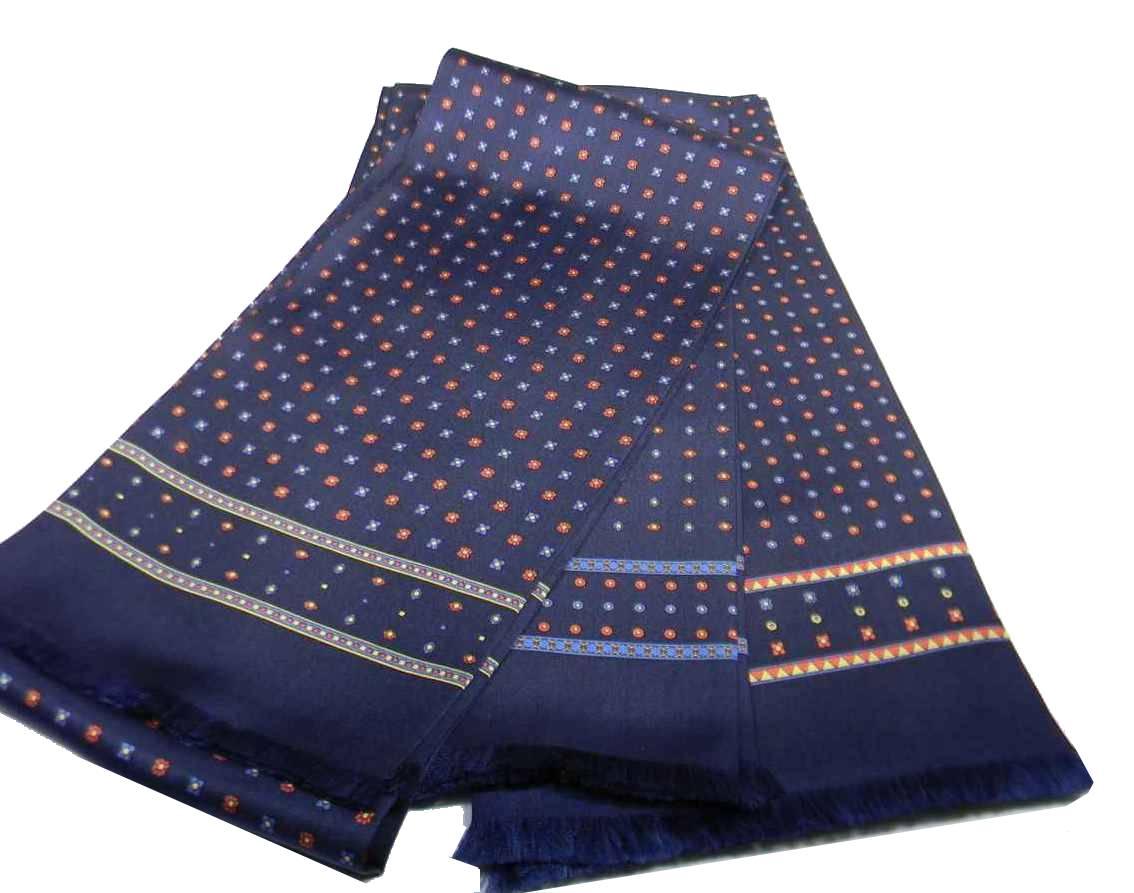 Elegante sciarpa seta uomo blu tubolare made italy disegni rossi gialli  azzurri 6f03a6dc557b