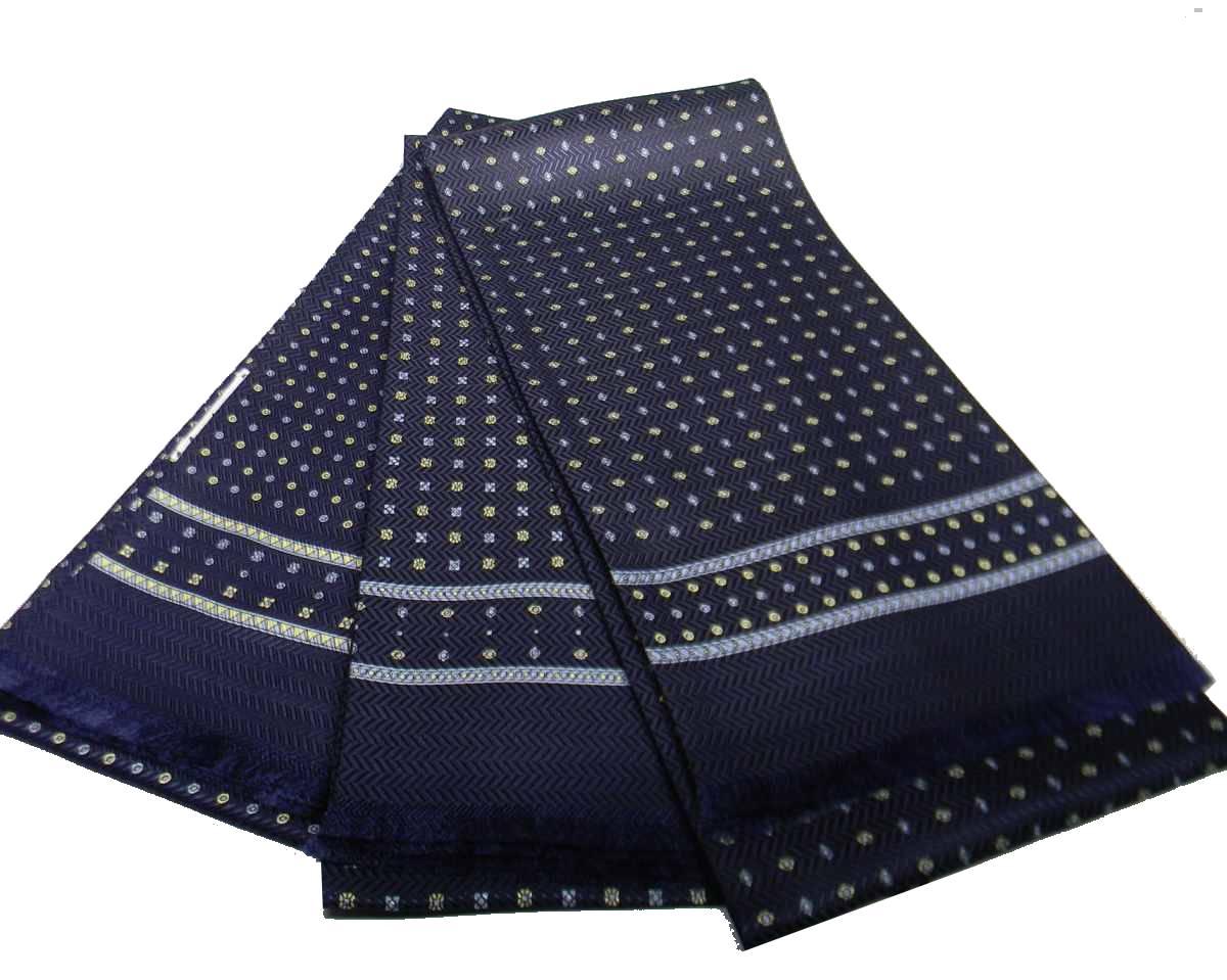 Sciarpa seta uomo tubolare grigia disegni classici azzurri operata sciarpe italy