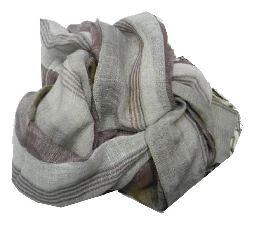 Sciarpa uomo donna lino a righe col naturali grigio grigi primavera estate da8d87e9e609