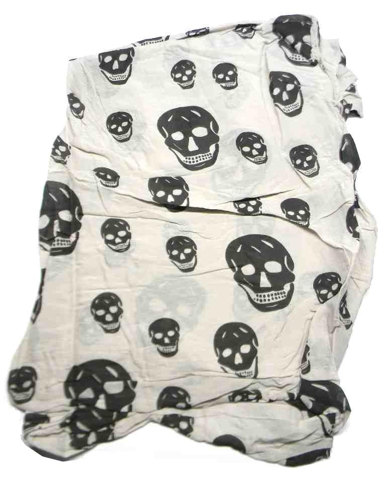 SCIARPA punk emo TESCHI kefia trapezio bianca beige panna teschi neri skull