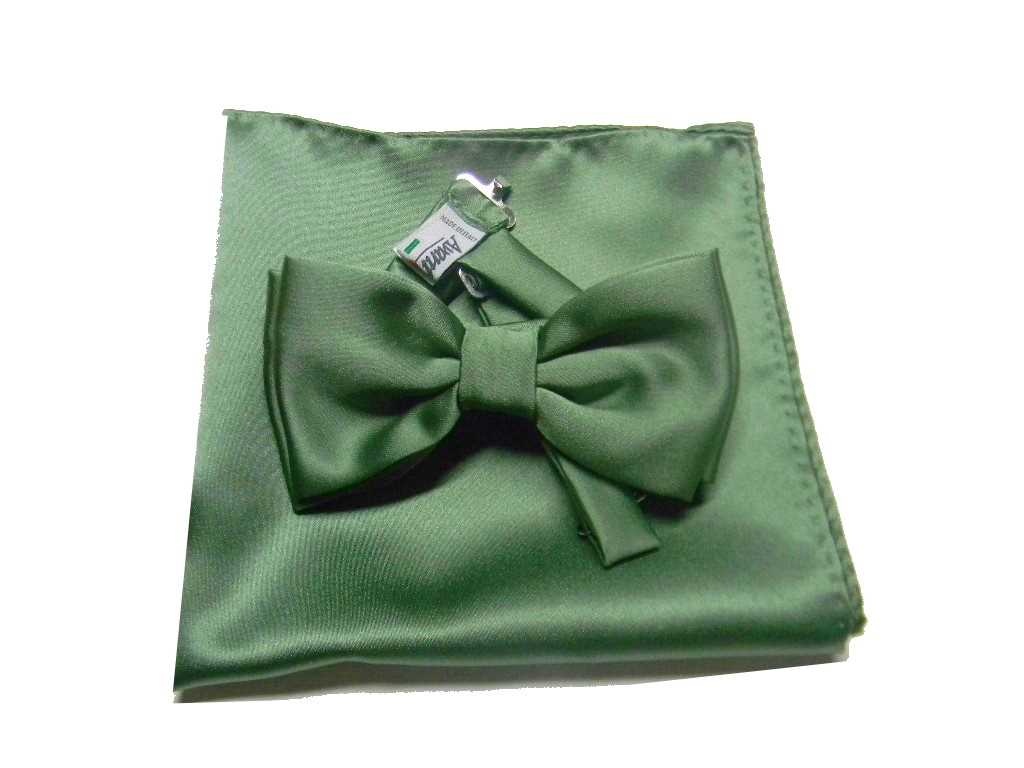 8b49f2efc1 Papillon e pochette uomo completo abbinato verde salvia raso lucido