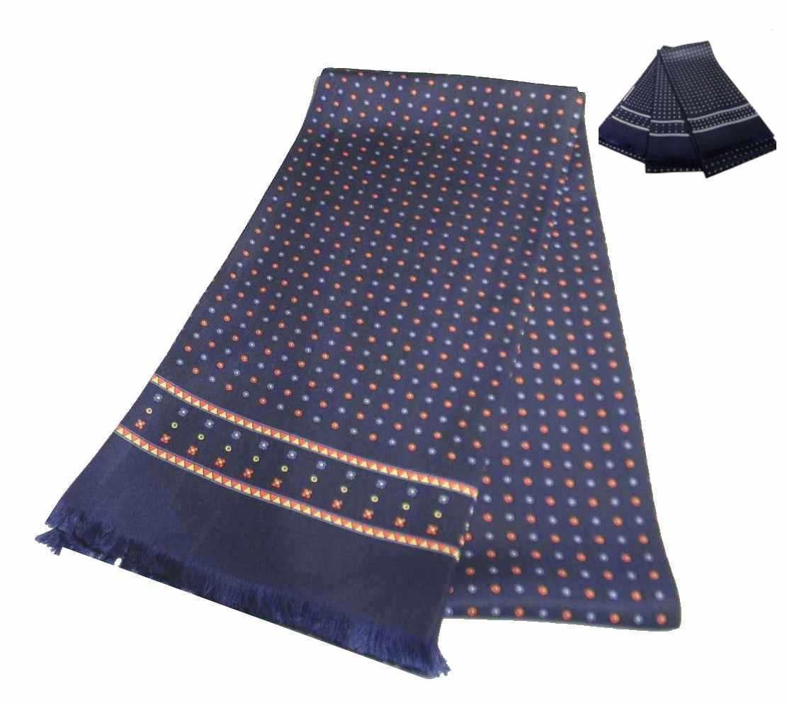 rivenditore online 88ecd 9312a Dettagli su Elegante sciarpa seta uomo blu tubolare made Italy disegni  rossi gialli azzurri