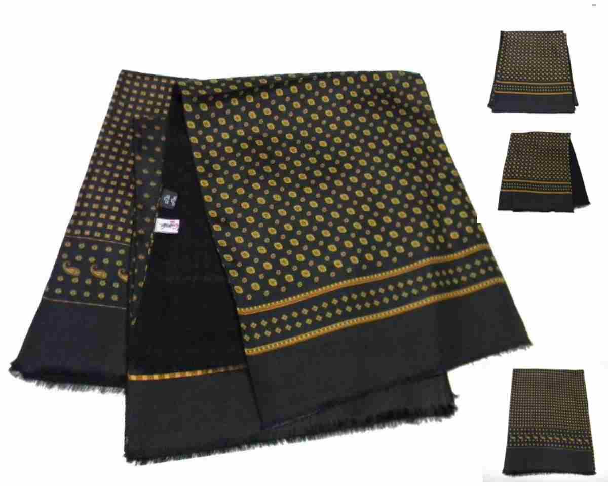 Sciarpa uomo double seta lana nera con disegni arancio ruggine sciarpe Italy 1d12a47464d2