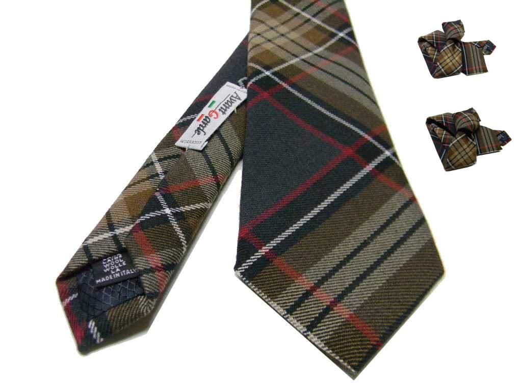 immagini dettagliate sfoglia le ultime collezioni vendite calde Dettagli su Cravatta in lana a quadri per uomo grigio scuro beige marrone  cravatte tartan