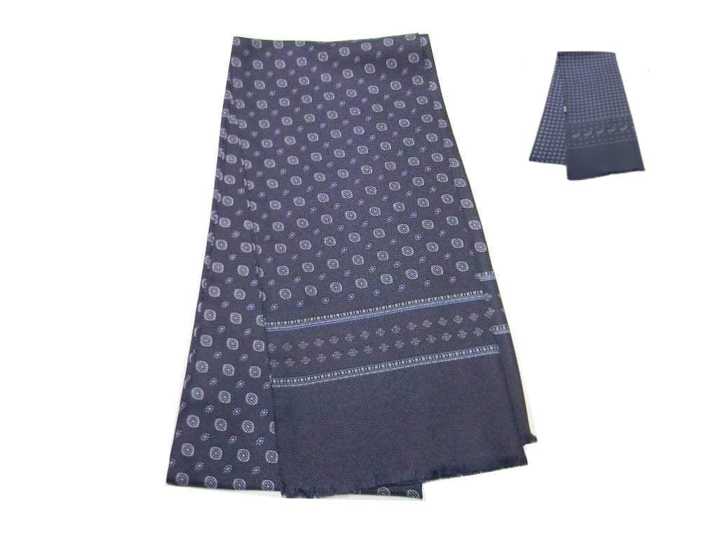 nuovo arrivo 59aaf 403e3 Dettagli su Sciarpe seta da giacca uomo elegante tubolare grigio scuro  disegni azzurri beige