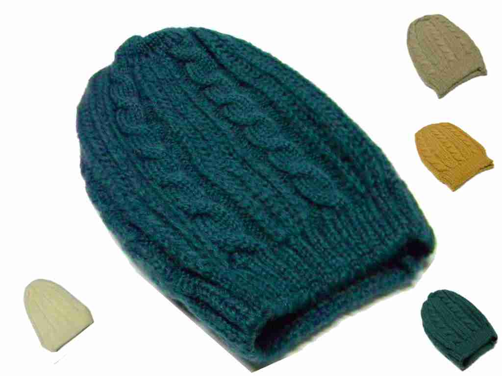 Berretto lana mohair treccia lungo vari mod donna ocra verde bianco beige  petrol c4ef4d4f434c