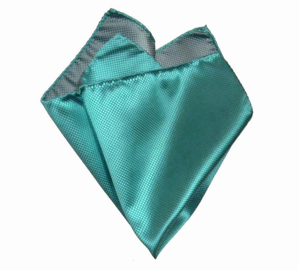 eff9e8f265 Papillon e pochette completo abbinato uomo turchese verde acqua seta
