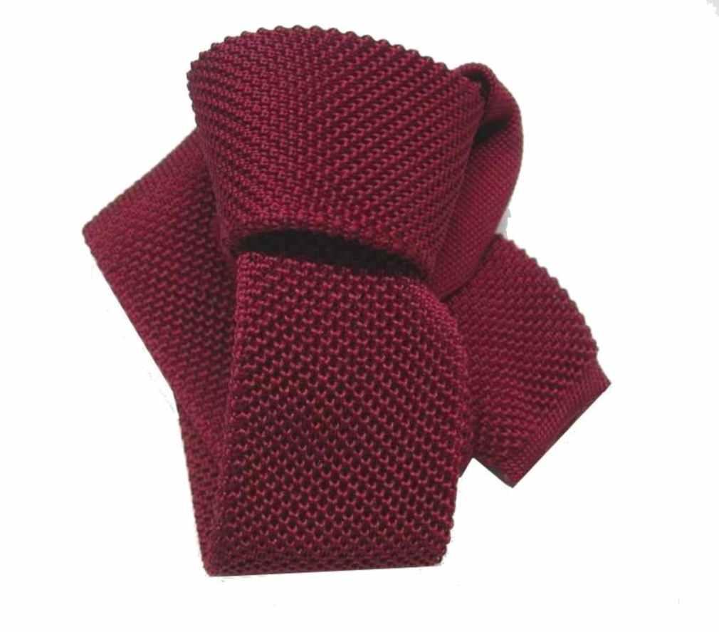 Cravatta uomo maglia tricot rosso bordeaux tinta unita cravatte vari colori  stor