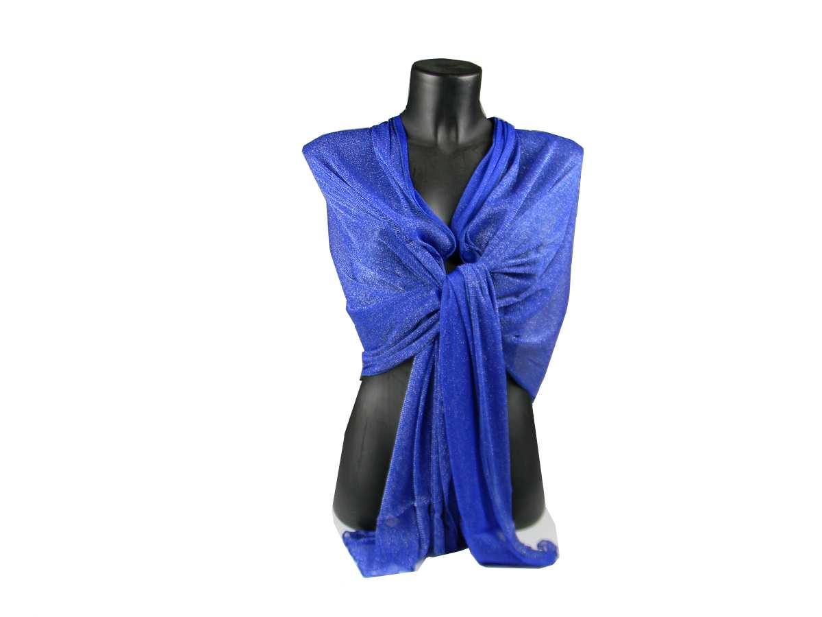 Stola donna blu elettrico in maglina lurex argento coprispalle estivo  scialle c7d14ff3d368