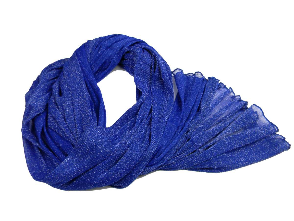 d8d31b8383 Stola donna blu elettrico in maglina lurex argento coprispalle estivo  scialle