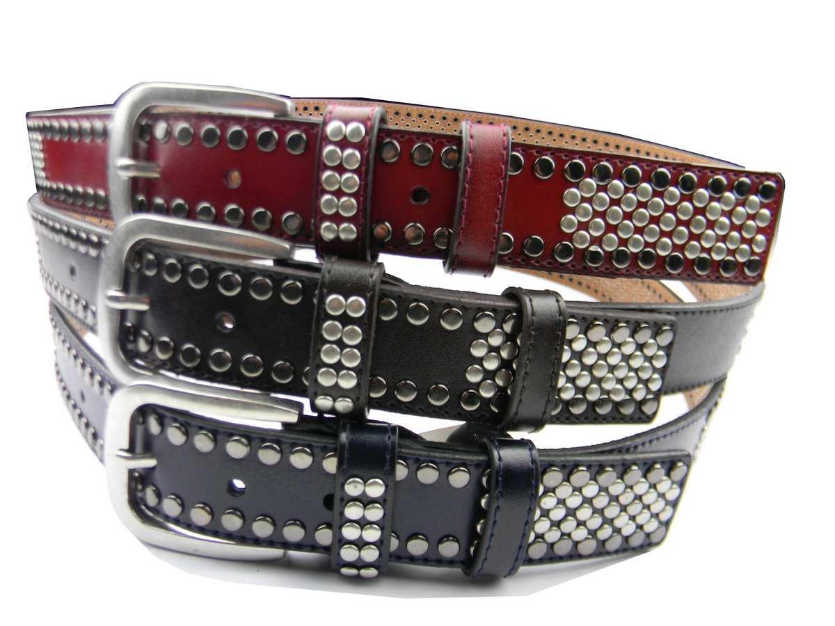design innovativo fa270 d594f Dettagli su Cintura uomo in pelle blu bordeaux marrone con borchie acciaio  leather belt