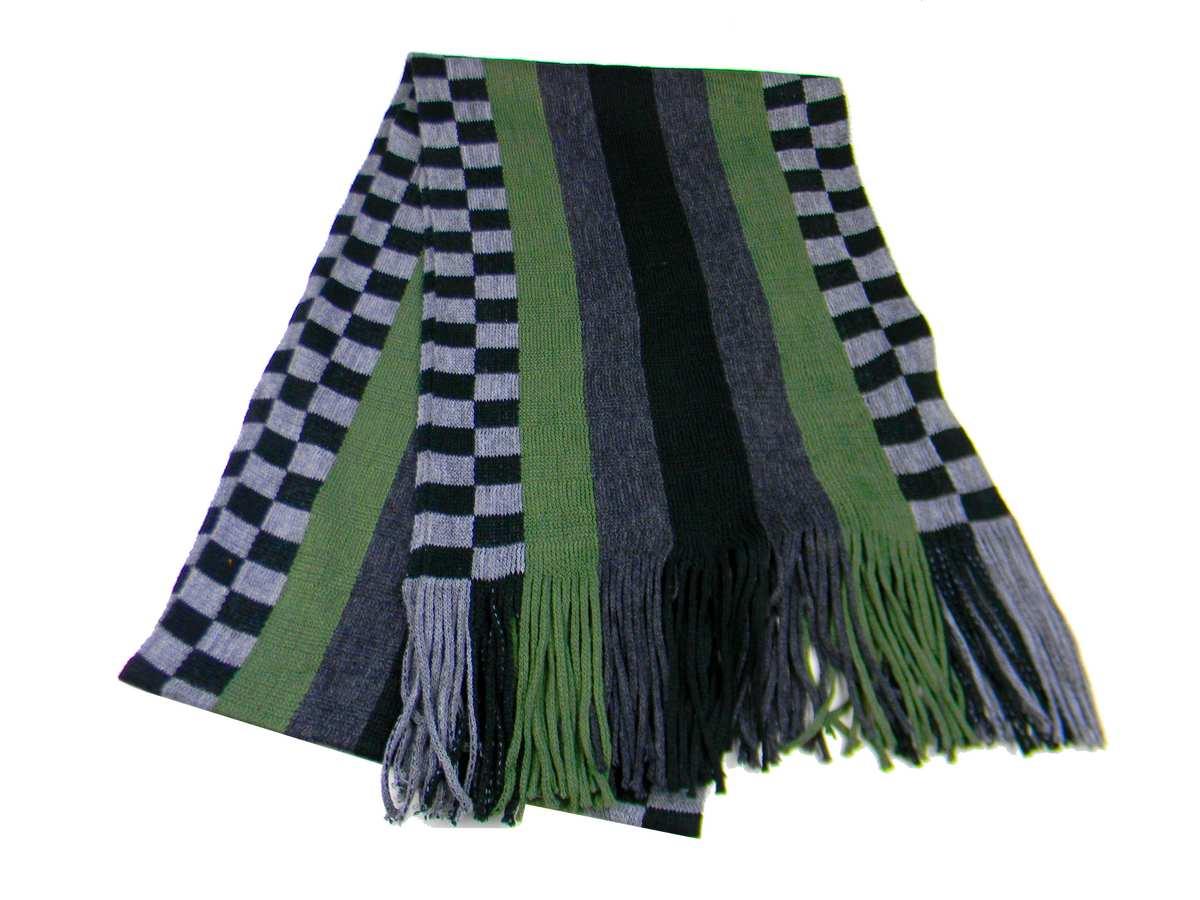 Sciarpa uomo verde a righe e quadretti grigi neri a5febc5033a8