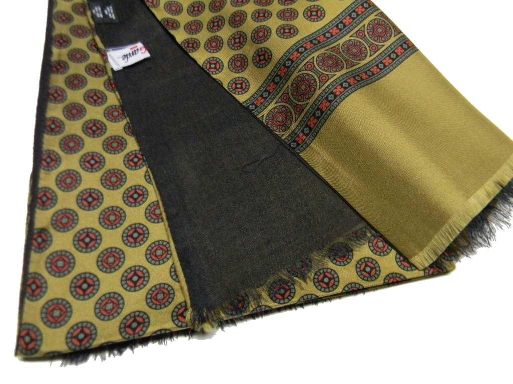 nuovo di zecca 201cb 3e8ab Dettagli su Sciarpa da uomo elegante seta lana beige oro doppiata grigio  made in Italy