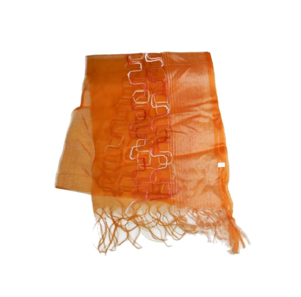 b5eb0e1cad43 Stola organza scialle arancio coprispalle riga e geomet
