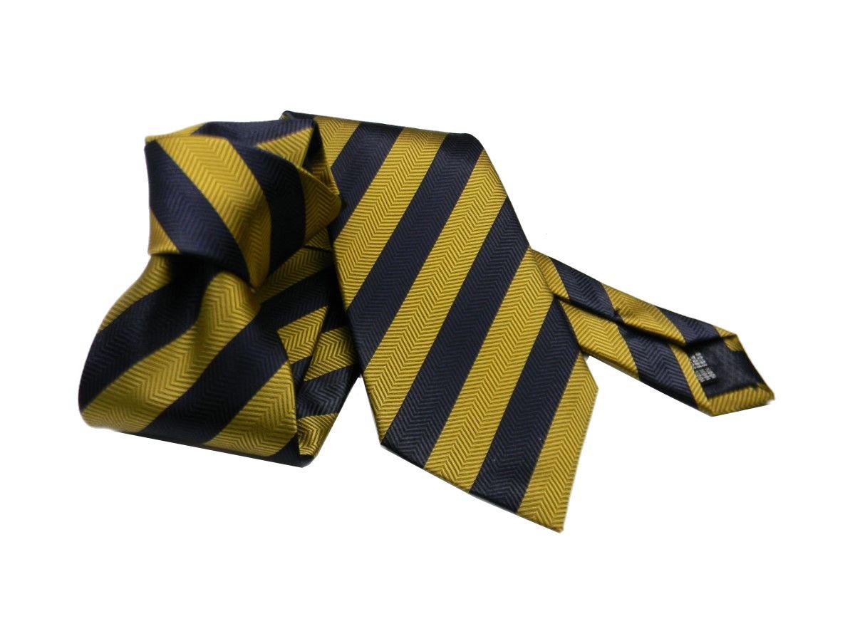 a righe Silk Ties Cravatta classica in seta colore: Marrone//Blu 8,5 cm