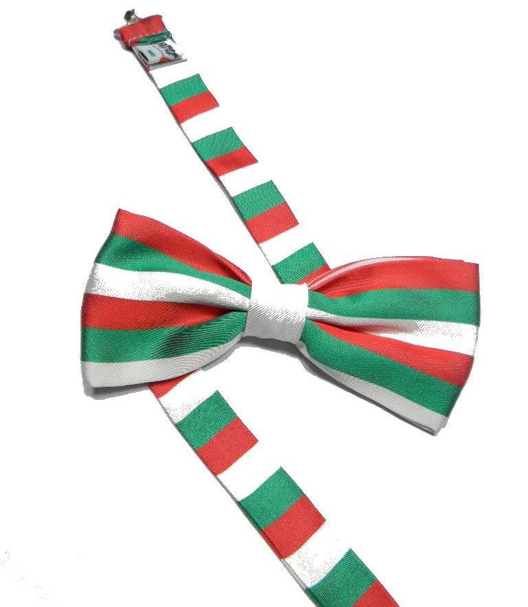 PAPILLON-BIMBO-verde-bianco-rosso-FARFALLA-BAMBINO-a-righe-ITALIA-seta-3-12-anni