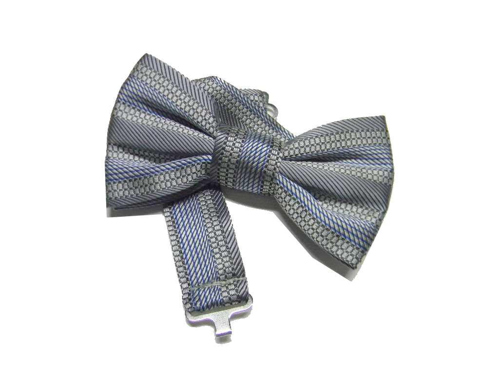 Papillon-grigio-elegante-per-bambino-in-seta-a-righe-beige-azzurre-made-italy