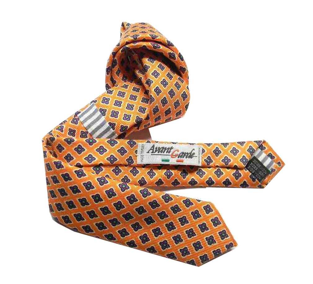 Cravatta-bambino-arancione-microfantasia-classica-di-seta-bimbo-pagetto-m-Italy