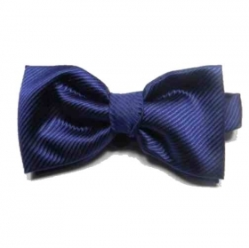 Papillon di seta unito blu blue rigatino made in italy