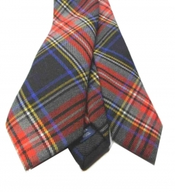Cravatta lana uomo a quadri tartan nero cravatte in lana english style multicolo