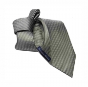 Cravatta sette pieghe grigia a righe grigie seta top quality tie made in italy