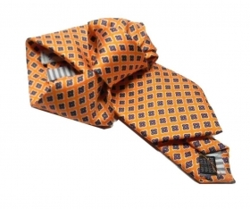 Cravatta arancione seta stampata cravatte satin printed silk tie made in italy