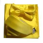 super qualità gamma completa di specifiche nuovo stile Sgargiante completo giallo cravatta papillon pochette