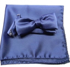 Completo cravattino fazzoletto papillon  blu made italy top class