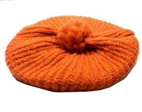 Basco donna berrettoarancio ruggine pon pon lana wool orange italy cap damen mod