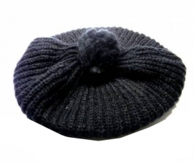 Nuovo berretto donna basco nero pon lana wool new black cap swarz hat hut italy