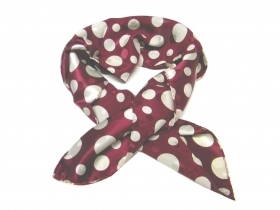 Fazzoletto da collo donna 60 bordeaux vino con pois multispace ecru