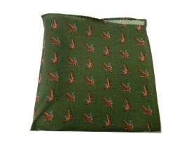 Pochette fazzoletto giacca lana uomo uccelli da motivi verde caccia wBfwqrp