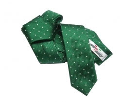 Cravatta cravattino a pois verde bianco moda 5cm slim cravatte made in italy