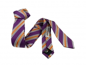 Cravatta a righe viola skinny tie 5cm made in italy