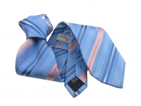 Cravatta azzurra a righe rosa neck tie striped ties