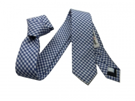 Cravatta a quadri stretta blu a quadretti bianchi cravattino skinny tie made it