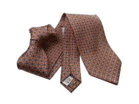 Cravatta arancione cravatte seta silk soie silk orange printed tie made in italy